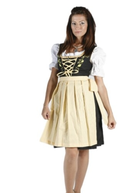 Dirndl Set Schwarz Gelb mit Bluse und Schürze 3tlg