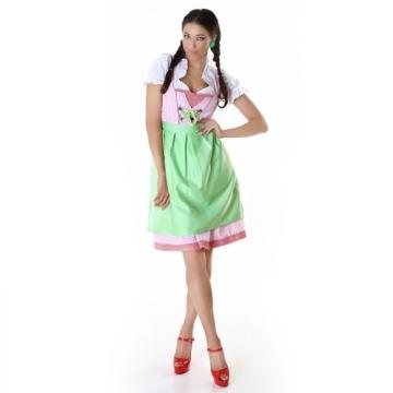 3tlg. Dirndl Set mit Dirndl, Dirndl Bluse & Schürze Rosa/Grün