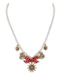 SIX Oktoberfest Perlenkette mit goldenen Anhängern, Schleife, Edelweiß, Herz