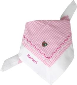 Trachtentuch rosa-weiß mit Stickerei