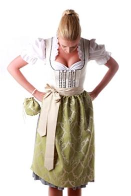 Dirndl Schürze Applegreen mit Beutel - 2014, Tracht, Midi, Brokat in Grün und Beige, Länge: 65 cm - 1