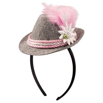 Oktoberfesthut Damen rosa Mini Seppl Hut Haarreif Tiara -