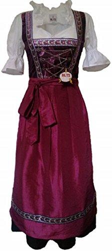 Blitz BT04 Dirndl 3 tlg. Trachtenkleid Kleid, Bluse, Schürze, ca. 115cm Größe: 34 bis 42 , Lila & Schwarz, (34) - 1